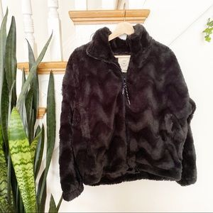 Urban Outfitters fuzzy soft black zip up jacket M